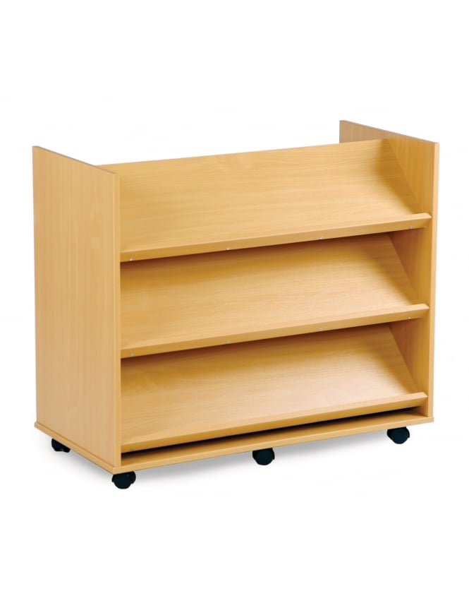 Monarch Furniture Library Unit with 3 Angled Shelves Each Side
