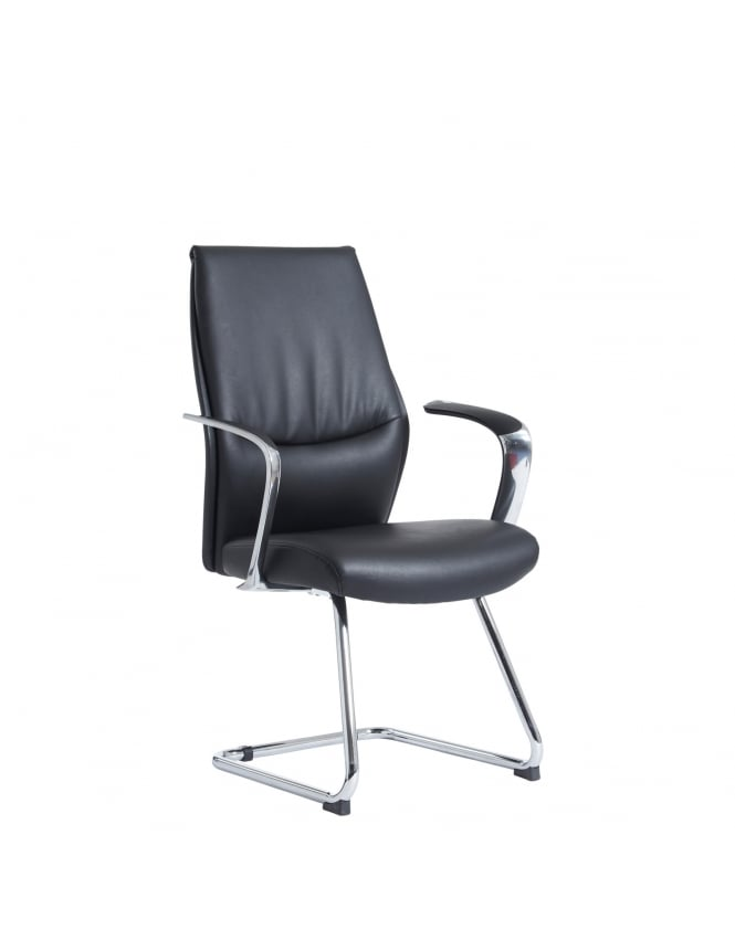 Dams Limoges Executive Visitors Chair - Black Leather