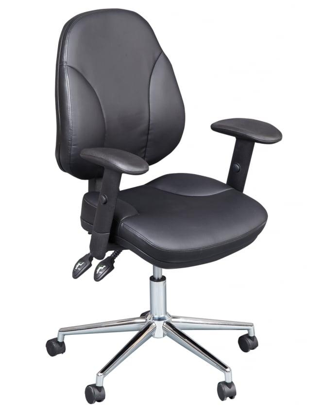 Woodstock Leabank Lynx Executive Leather Medium Back Chair - Black