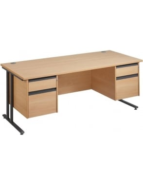 Maestro 25 GL Cantilever Desk with 2, 2 Drawer Pedestals