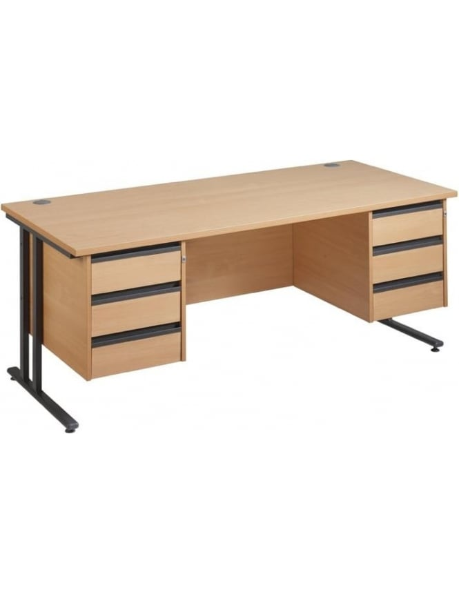 Dams Maestro 25 GL Cantilever Desk with 2, 3 Drawer Pedestals