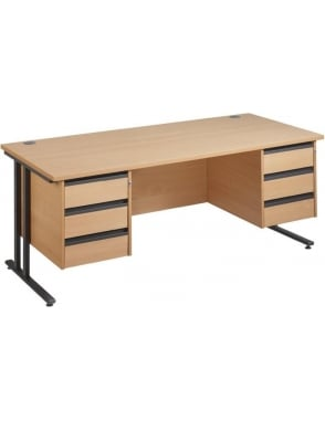 Maestro 25 GL Cantilever Desk with 2, 3 Drawer Pedestals