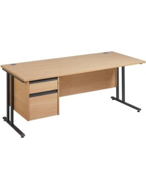 Maestro 25 GL Cantilever Desk with 2 Drawer Pedestal