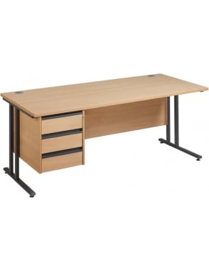 Maestro 25 GL Cantilever Desk with 3 Drawer Pedestal