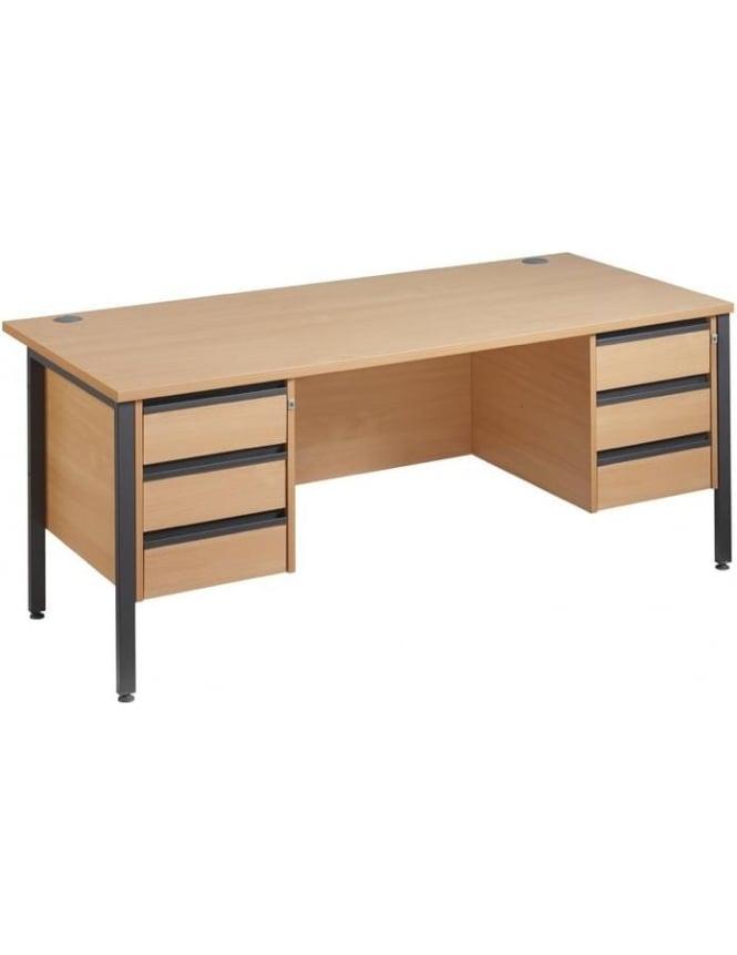 Dams Maestro 25 GL Desk with 2, 3 Drawer Pedestals
