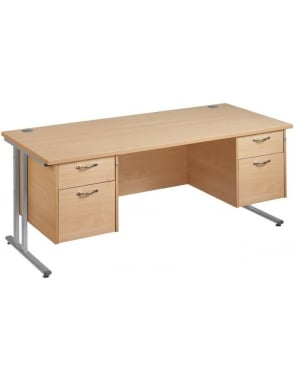 Maestro 25 SL Cantilever Desk with 2, 2 Drawer Pedestal