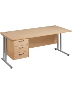 Maestro 25 SL Cantilever Desk with 3 Drawer Pedestal