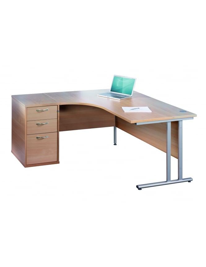 Dams Maestro 25 SL Right Hand Ergonomic Desk with Desk High Pedestal