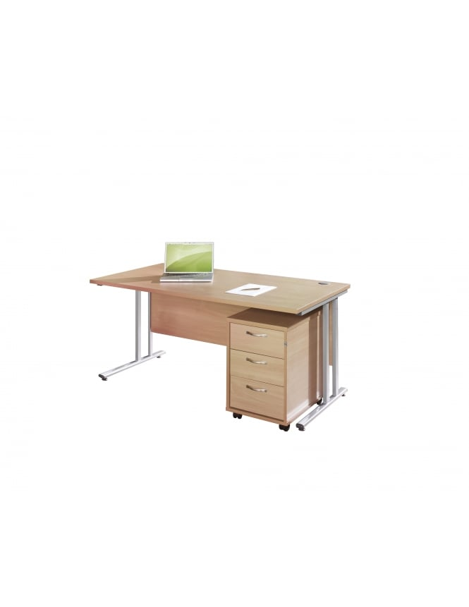 Dams Maestro 25 SL Straight Desk with Silver Cantilever Frame and 3 Drawer Pedestal