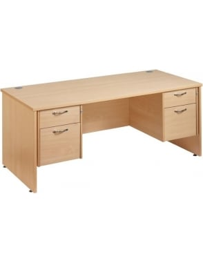 Maestro 25 Straight Panel Desk with 2, 2 Drawer Pedestals