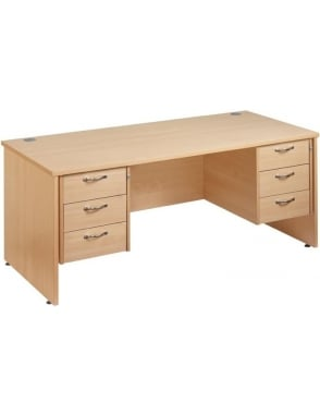 Maestro 25 Straight Panel Desk with 2, 3 Drawer Pedestals