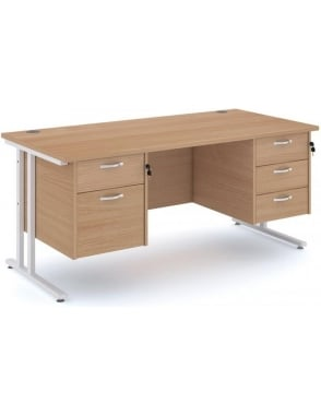 Maestro 25 WH Cantilever Desk with 2 & 3 Drawer Pedestal