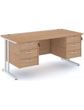Maestro 25 WH Cantilever Desk with 2, 3 Drawer Pedestal