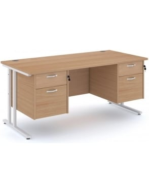 Maestro 25 WL Cantilever Desk with 2, 2 Drawer Pedestal