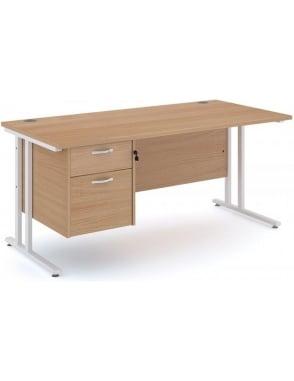 Maestro 25 WL Cantilever Desk with 2 Drawer Pedestal