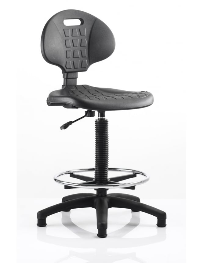 Dynamic Furniture Malaga Draughtsman Task Operator Black Polyurethane Chair