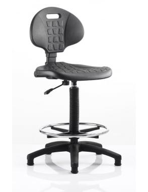Malaga Draughtsman Task Operator Black Polyurethane Chair