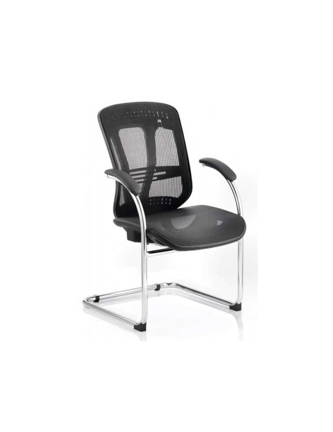 Dynamic Furniture Mirage Visitor Black Mesh Cantilever Chair