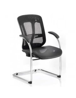Mirage Visitor Black Mesh Cantilever Chair