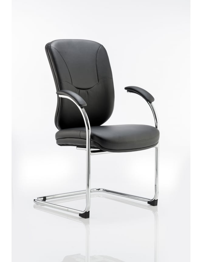 Dynamic Furniture Mirage Visitor Cantilever Black Leather Chair
