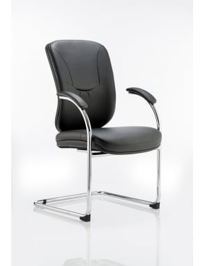 Mirage Visitor Cantilever Black Leather Chair