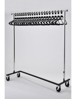 Mobile Chrome Coat Stand + 20 Black SPH Hangers