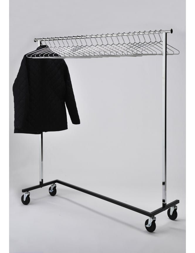 Commercial Hangers Mobile Chrome Coat Stand + 25 Chrome Hangers