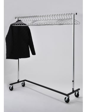 Mobile Chrome Coat Stand + 25 Chrome Hangers