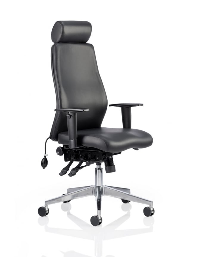 Dynamic Furniture Onyx Ergo Posture Black Bonded Leather Chair