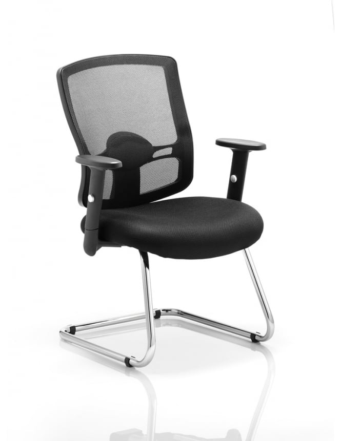 Dynamic Furniture Portland Cantilever Black Mesh Chair
