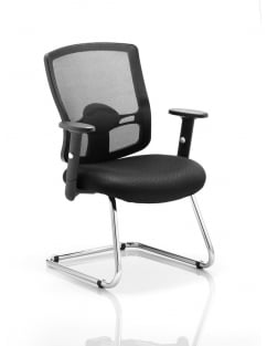 Portland Cantilever Black Mesh Chair