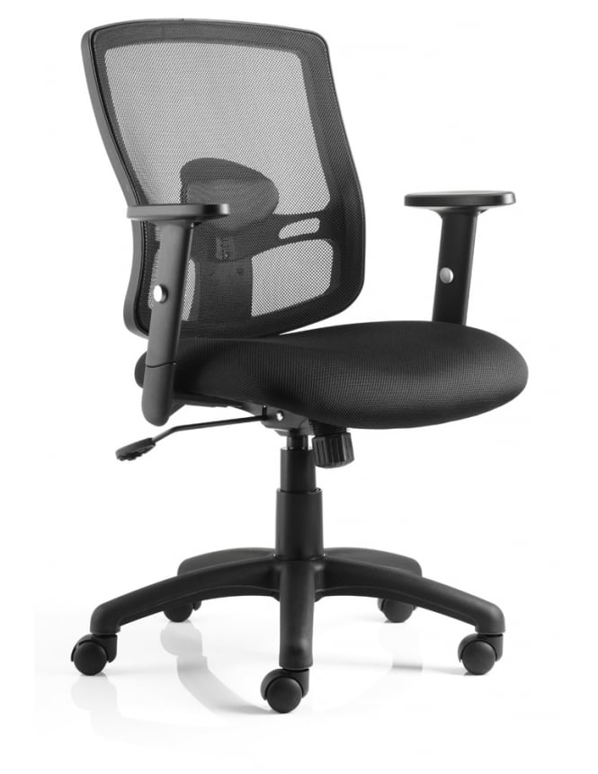 Dynamic Furniture Portland Task Operator Chair Black Mesh With Arms