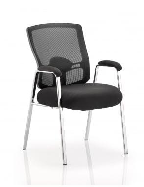 Portland Visitor Black Mesh Back Chair