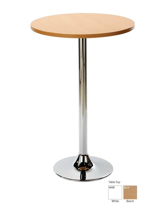 Woodstock Leabank Ramiro Poseur Round Dining Table with Chrome Column