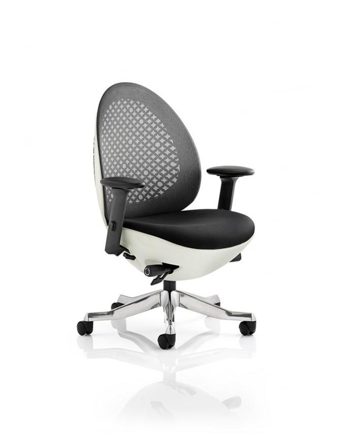 Dynamic Furniture Revo Task Operator White Shell Mesh Chair