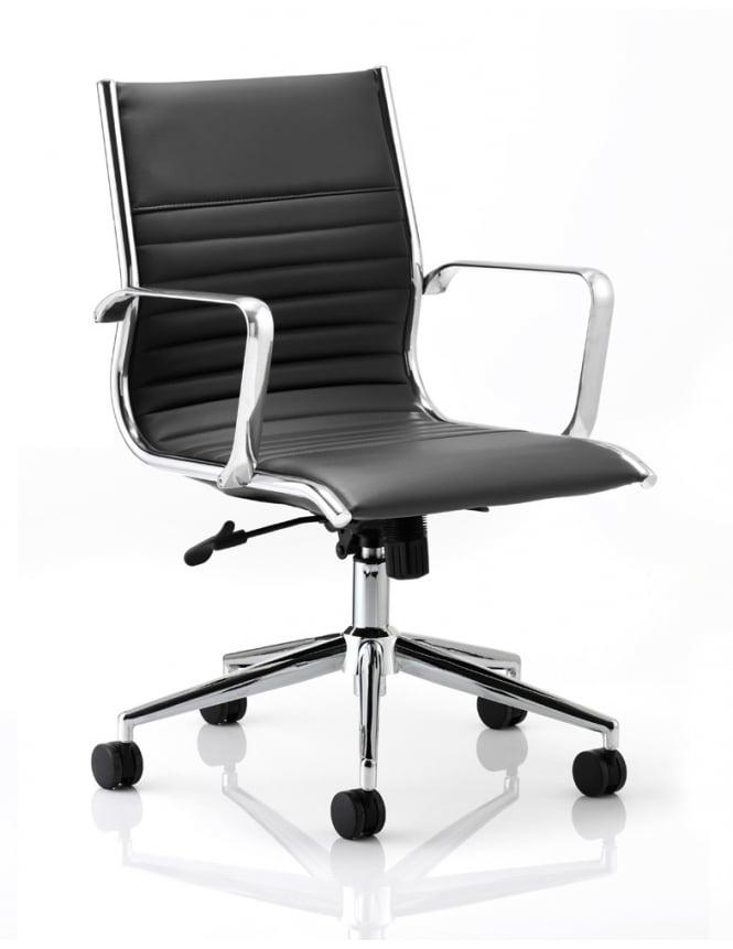 Dynamic Furniture Ritz Executive Black Bonded Leather Medium Back Chair