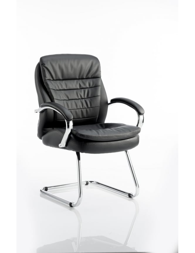 Dynamic Furniture Rocky Visitor Cantilever Black Leather Chair