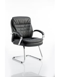 Rocky Visitor Cantilever Black Leather Chair