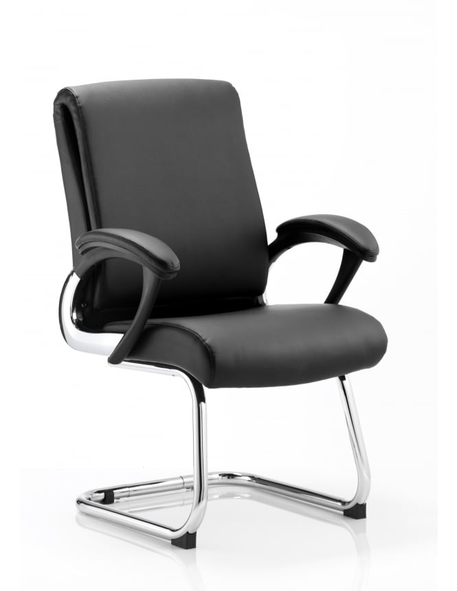 Dynamic Furniture Romeo Visitor Cantilever Black Leather Chair