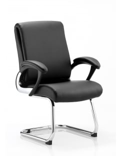 Romeo Visitor Cantilever Black Leather Chair