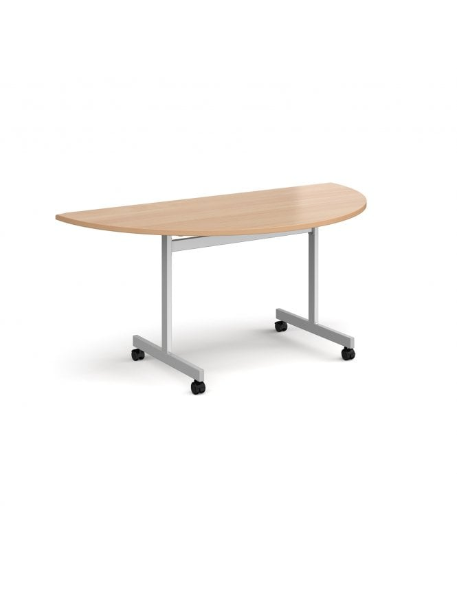 Dams Semi Circular Fliptop Meeting Table with Silver Frame 1600mm x 800mm