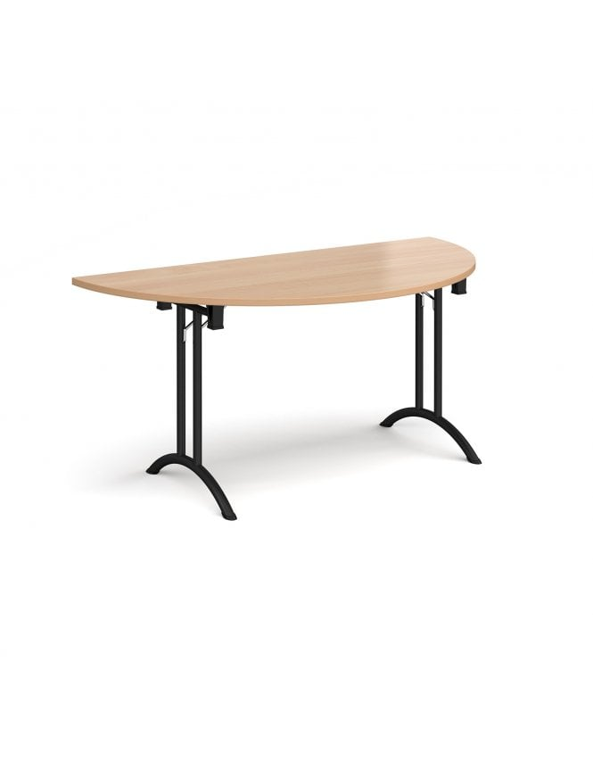 Dams Semi Circular Folding Leg Table with Curved Foot Rails 1600mm x 800mm