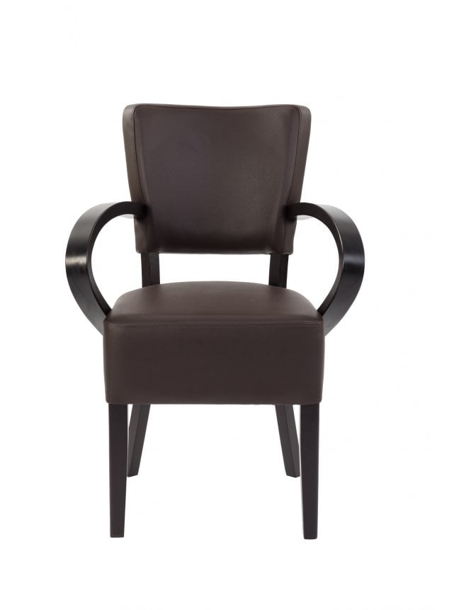 Tabilo Sena Wenge Arm Chair with Faux Leather Seat And Back
