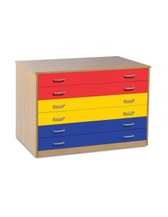Static 6 Drawer Plan Chest with Coloured Drawers