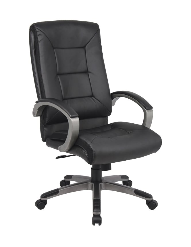 Woodstock Leabank Tanzanite Black Executive Leather High Back Chair