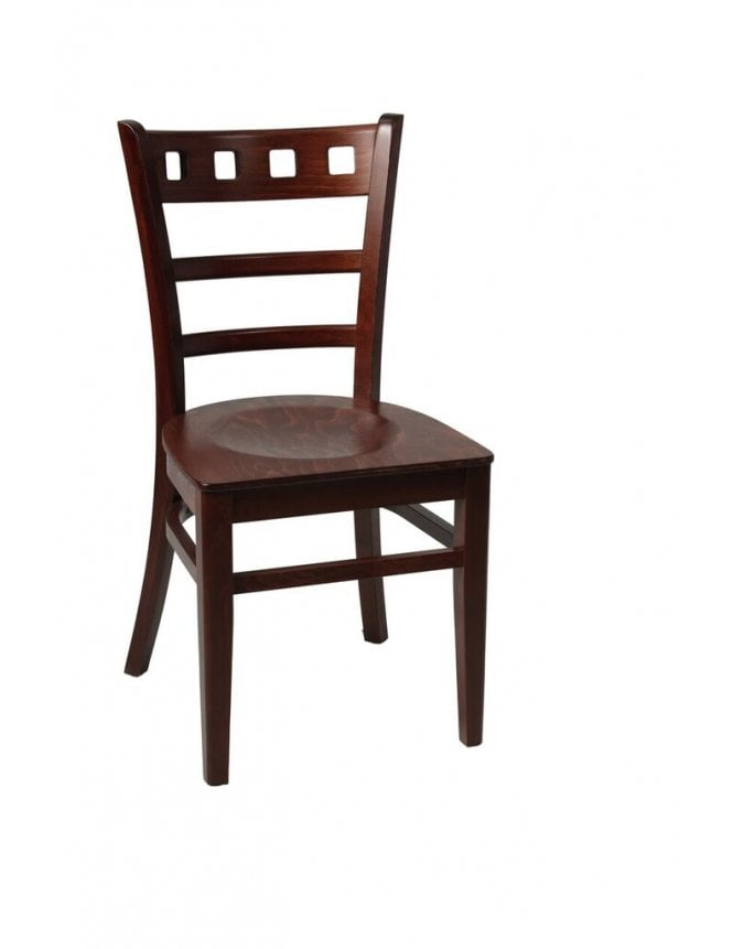 Tabilo The Enzo Walnut with Wooden Seat Side Chair