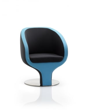 Tulip Visitor Black And Blue Fabric Chair
