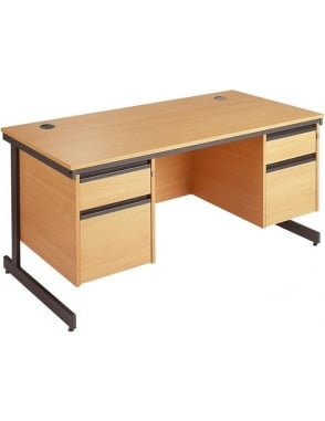 Value Cantilever Desk with 2, 2 Drawer Pedestals