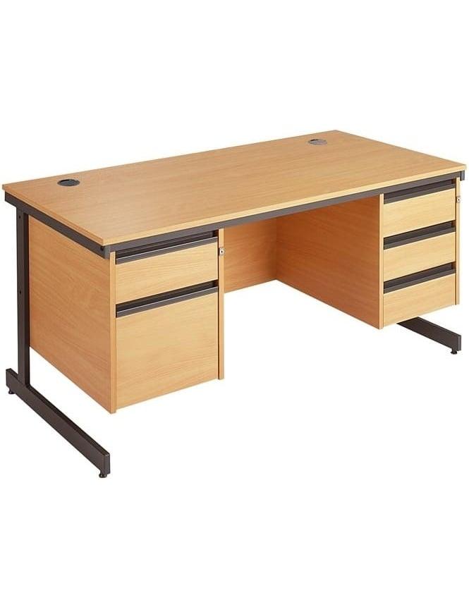 Dams Value Cantilever Desk with 2 & 3 Drawer Pedestals