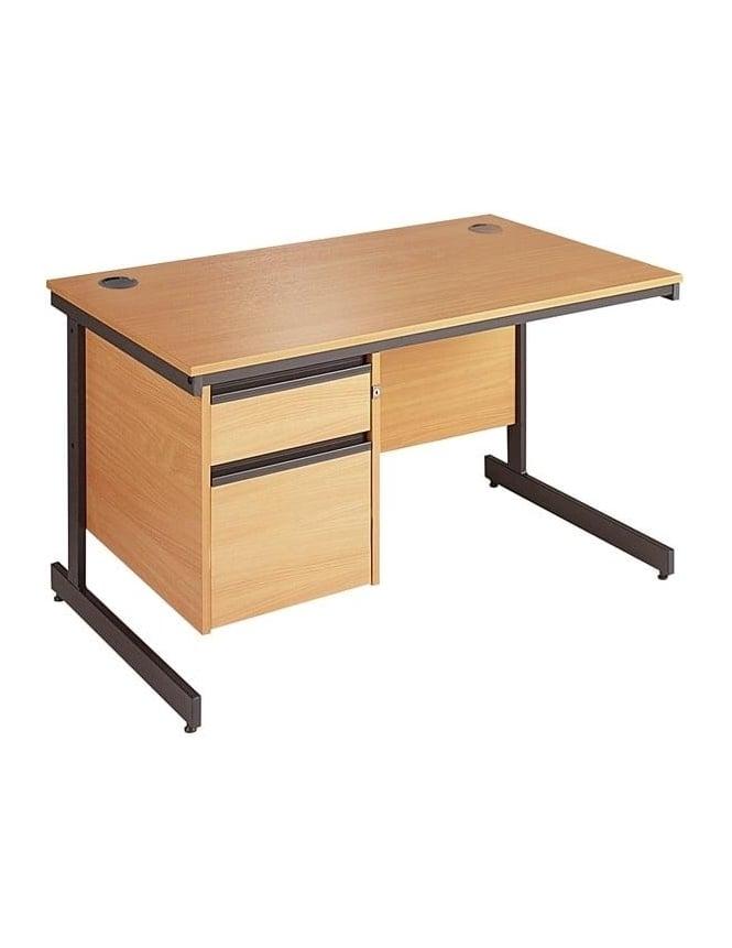 Dams Value Cantilever Desk with 2 Drawer Pedestal